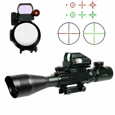 4-12X50 Tactical Rifle Scope Mil-dot with Holographic 4 Reticle Sight-Red Laser
