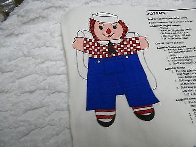 # 195 Rare Vintage Cut And Sew Raggedy Ann- Andy School BackPack Panel Pattern