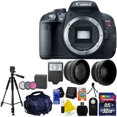 "Canon Rebel T5i Camera Body+32GB Card Tele & Wide Lenses,75""Tripod,Case,11pc Kit"