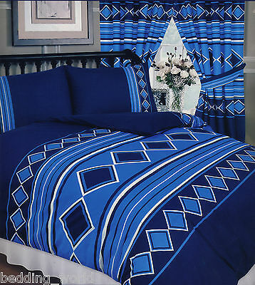 Men Only Nautical Blue Navy White Diamond Lines Stripes Bedding Or Curtains