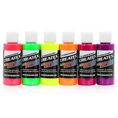 Createx Colors Airbrush Paint Fluorescent Set 5802-00 - 6 Colors - 2 oz
