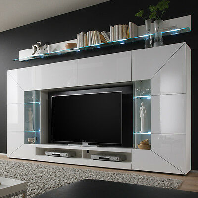 wohnwand hochglanz wei led tv hifi rack tv fernsehschrank anbauwand schrankwand. Black Bedroom Furniture Sets. Home Design Ideas
