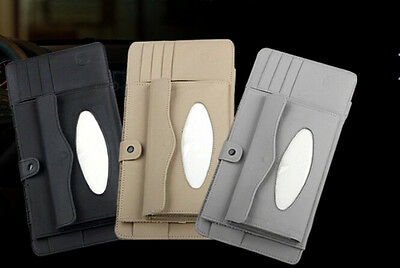 High quality leather car CD pocket Tissue box Sun visor gray black beige