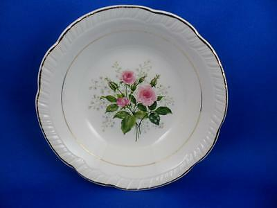 "SAUCE-BERRY BOWL-American Limoges China ""CATHY R2 ~ Pink Roses~22K Gold Trim"