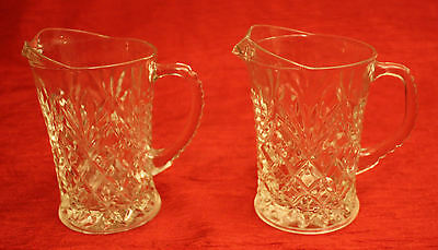 2 Matching Anchor Hocking Oatmeal and Pineapple Pattern Creamers Mini Pitchers