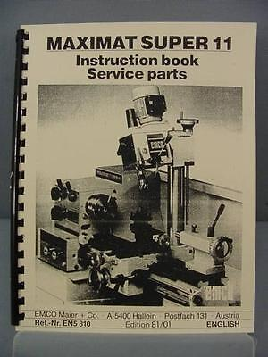 EMCO Maximat Super 11 Instructions & Parts Manual