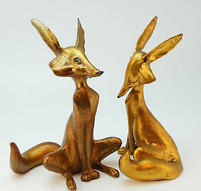 PAIR of Vintage McFarlin (ANTHONY) 1970 Gold Leaf  Foxes - #144 & 145