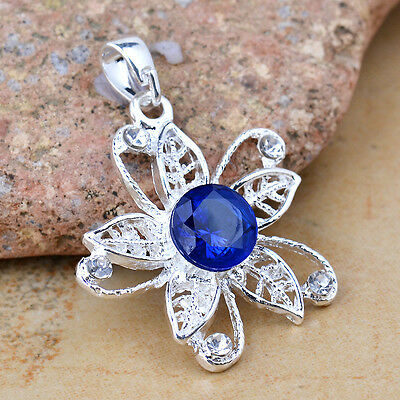 Classic blue Charming S80 Silver Necklace Pendant 35*30mm *BXL-834