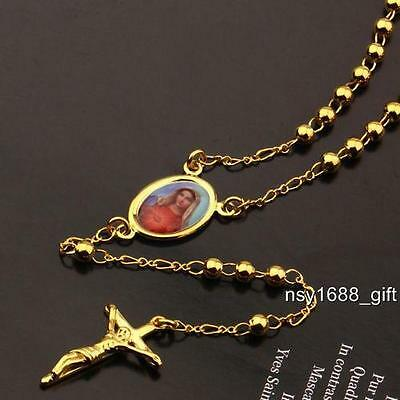 18k Yellow Gold Filled Men Cross Necklace Virgin Mary Curb Chain Pendant 23.6""