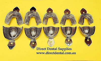 Dental Impression Tray Stainless Steel Dentolous Set Of 10  PCS  Assorted.