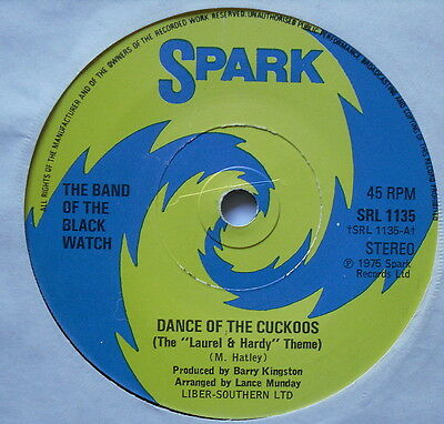 """BAND OF THE BLACK WATCH - Marching With Cuckoos - Ex Con 7"""" Spark SRL 1135"""