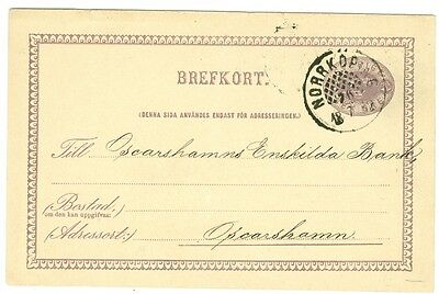 SWEDEN: Postal stationary with beehive cancellation Norrköping 1882, scarce.