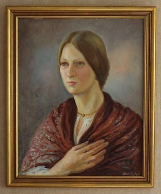BERT ROFFEY Vintage 1970s  Oil Painting Portrait of a lady. Signed. Framed