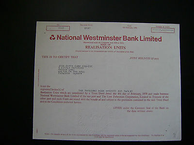 NatWest Bank share certificate Realisation units 1970