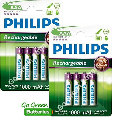 8 x Philips AAA 1000 mAh Rechargeable Batteries LR03 HR03 Dect Phone NiMH