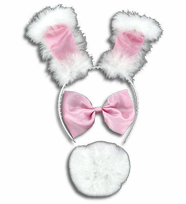 Pink Fluffy Bunny Set - Ears, Bow Tie And Fluffy Tail NEW