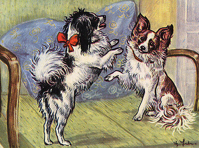 Papillon Charming Dog Greetings Note Card Two Beautiful Dogs Playing On Chair