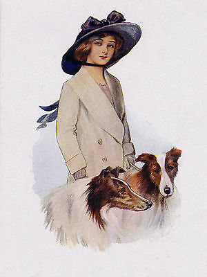 Rough Collie Pretty Lady And Her Dogs Lovely Dog Greetings Note Card