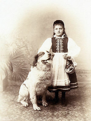 Pyrenean Mountain Dog Girl In National Costume Old Photo On Greetings Note Card