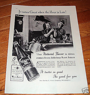 1937 Hires Root Beer Ad  the Hour is Late College Girls