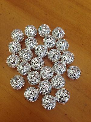25 Silver Plated Filigree Ball Spacer Beads 10mm