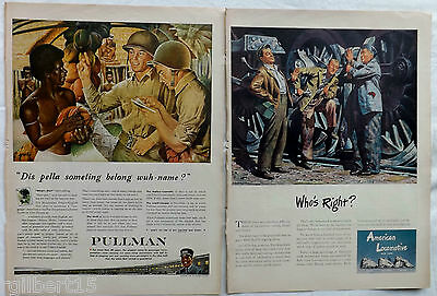 1944 Military World War Two Vintage Lot 14 Original Color Print Magazine Ads