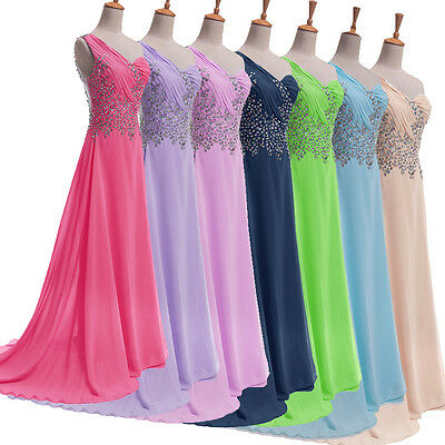 Plus Size Long Formal Dress BEADED Prom Evening Gown Ball Party Bridesmaid Dress