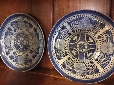 Two Antique Chinese export Fitzhugh porcelain Blue & White Dishs