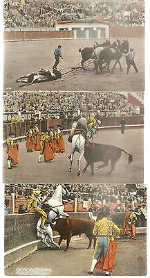 Lot of 3 Bull Fighting Mexico Vintage Real Photo Postcards LANCING The BULL