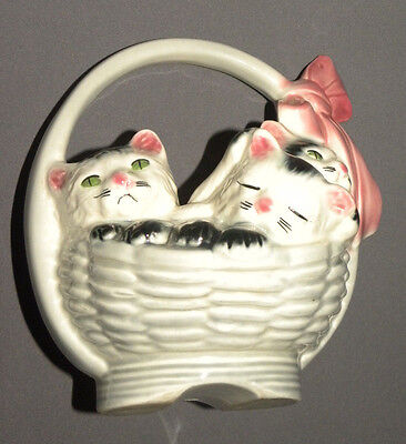 Vintage 1940's Antique Porcelain Cats in White Basket Kitten Sleeping w Bow