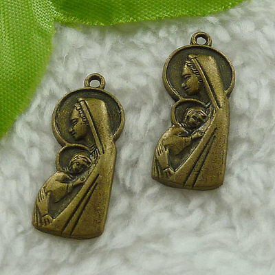 free ship 180 pieces bronze plated mother and son charms 25x10mm #3096