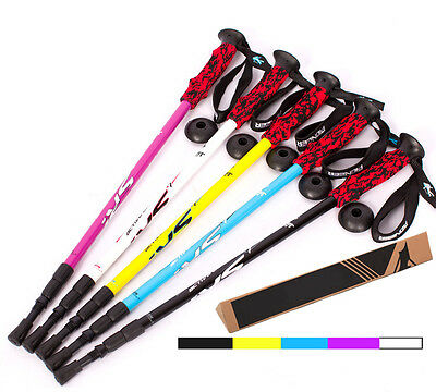 3-Section Telescopic Nordic Walking Trekking Ski Pole Hiking Alpenstock Stick