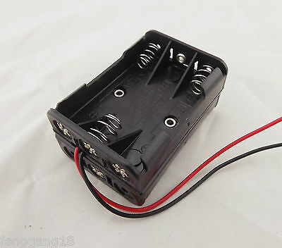 1pcs 6 x AAA Size LR03 UM-4 Plastic Battery Holder Box 9V Case With Wire Lead
