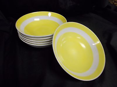 Fitz & Floyd China Bright Yellow and White - Set of 6 Soup Bowls