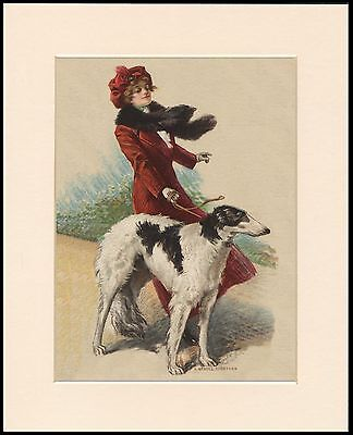 Borzoi And Pretty Lady In Red Coat Lovely Dog Print Mounted Ready To Frame