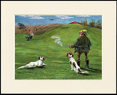Irish Red And White Setter Comic Dog Shooting Print Mounted Ready To Frame