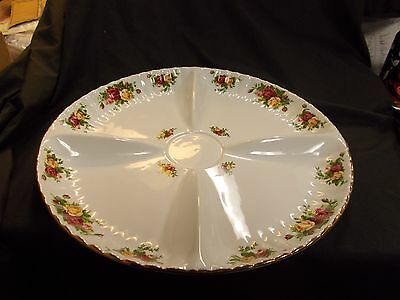 Royal Albert Old Country Roses Round Divided Serving Tray Platter Chip New