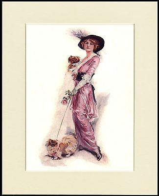 Pekingese Dogs Glamorous Lady In Pink Dress Dog Print Mounted Ready To Frame