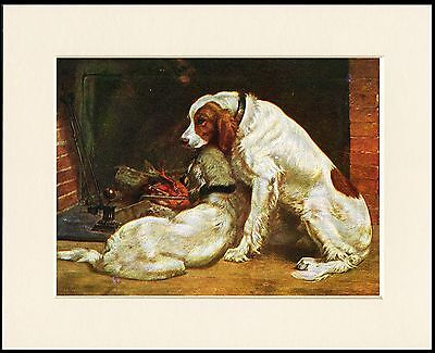 Irish Red And White Setter Dogs By The Fire Dog Print Mounted Ready To Frame