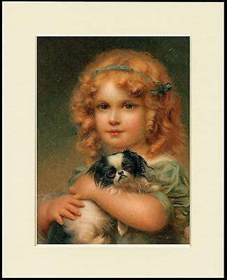 Japanese Chin Dog And Girl Lovely Little Dog Print Mounted Ready To Frame