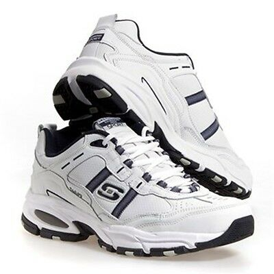 MENS 14 EXTRA Wide Skechers White & Gray Leather Athletic Shoes NEW 14W