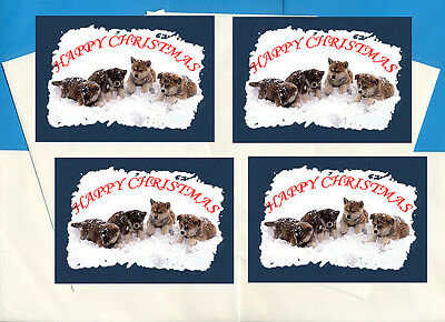 Japanese Akita Pack Of 4 Cards Dog Print Greeting Christmas Cards