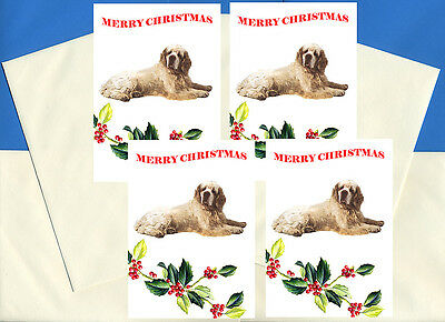 Clumber Spaniel Pack Of 4 Cards Dog Print Greeting Christmas Cards