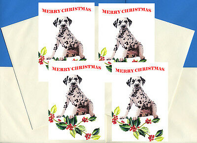 Dalmatian Pack Of 4 Cards Dog Print Greeting Christmas Cards