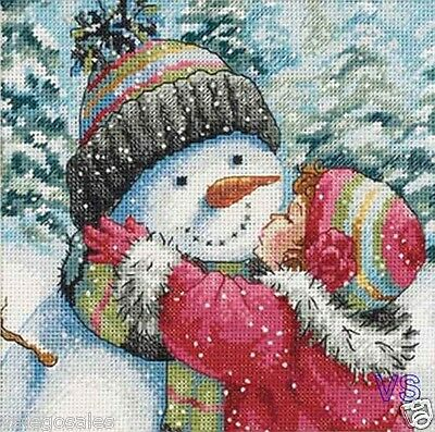 """Dimensions Counted Cross Stitch kit 6"""" x 6"""" ~ KISS FOR SNOWMAN Sale #70-08833"""