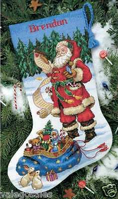 """Dimensions Counted Cross Stitch kit 16"""" ~ CHECKING HIS LIST STOCKING #08645 Sale"""