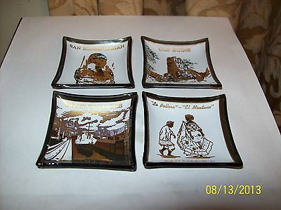 SET OF FOUR VINTAGE PANAMA R.P. SMOKED GLASS PIN TRAYS