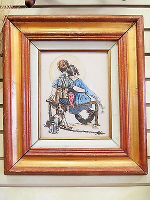 "Norman Rockwell Picture On Cultered Ivory Engraved ""boy Girl Dog Gazing At Moon"""