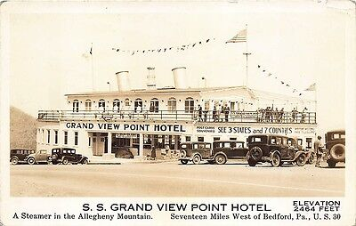 Bedford PA S. S. Grand View Point Hotel Steamer RPPC Real Photo Postcard
