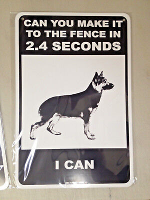 Dog Warning - metal fence sign - Funny - German Shepherd - Beware of Dog sign